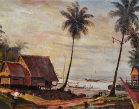 22-Khalil Ibrahim, Sunset, (1957) SOLD Oil on Canvas 53.5cm x 34.5cm