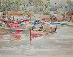 23-Khalil Ibrahim, Tumpat, Kelantan Fishing Village (1978) Watercolour on Paper 48cm x 36cm