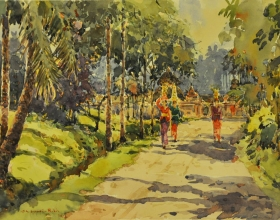 25-Shafurdin Habib, Bali Series On Way to Temple (2010) 30.5cm x 45.8cm, Watercolour on Paper