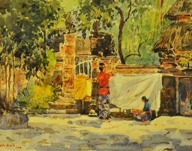 28-Shafurdin Habib, Bali Series, Offering (2010) 30.5cm x 45.8cm, Watercolour on Paper