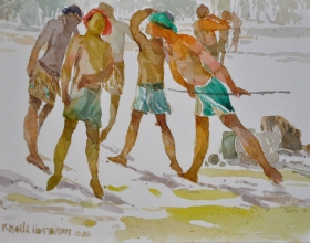 3-Khalil Ibrahim, East Coast Fishermen Series (2001) SOLD Watercolour on Paper 25.8cm x 18cm