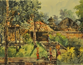30-Shafurdin Habib, Bali Series, On Way to Temple (2010) 30.5cm X 45.8cm, Watercolour on Paper