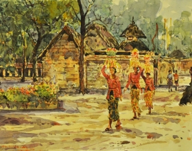 31-Shafurdin Habib, Bali Series, On Way to Temple II (2010) 30.5cm X 45.8cm, Watercolour on Paper