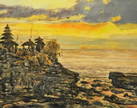 35-Shafurdin Habib, Bali Series, Sunset at Tanah Lot (2009) 30.5cm X 45.8cm, Watercolour on Paper