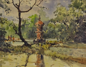 36-Shafurdin Habib, Bali Series Temple by the River (2009) 30.5cm X 45.8cm Watercolour on Paper