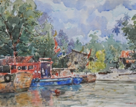 39-Shafurdin Habib, Berlabuh (2011) 30.5cm x 45.8cm Watercolour on Paper