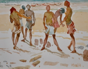4-Khalil Ibrahim, East Coast Fishermen Series (undated) Watercolour on Paper 14.5cm x 21cm