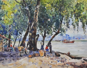 43-Shafurdin Habib, Menanti (2011) 30.5cm x 45.8cm, Watercolour on Paper