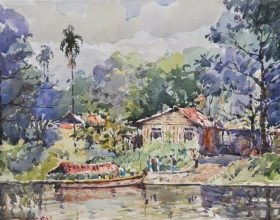 45-Shafurdin Habib, Penambang (2010) 30.5cm x 45.8cm, Watercolour on Paper