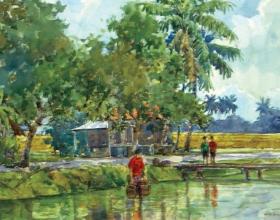 49-Shafurdin Habib, Sg Besar Series 4 (2010) 30.5cm x 45.8cm, Watercolour on Paper