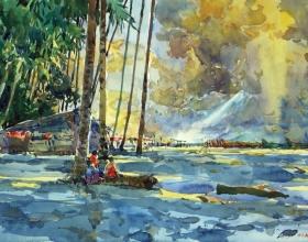 55-Shafurdin Habib, Sg Besar Series, Pantai Sabak (2010) 30.5cm x 45.8cm, Watercolour on Paper