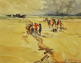 1-Khalil Ibrahim, Berserah (1994) SOLD Watercolour on Paper, 30 x 39 cm