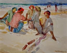 2-Khalil Ibrahim, East Coast Fishermen Series (1997) SOLD Watercolour on Paper 25cm x 35cm
