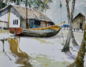 5-Khalil Ibrahim, East Coast Series, (1995) SOLD Water Colour On Paper 22cm x 22.5 cm (Back Side)