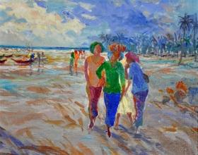 7-Khalil Ibrahim, East Coast Series, (2001) SOLD Acrylic on Canvas 23.5cm x 28cm
