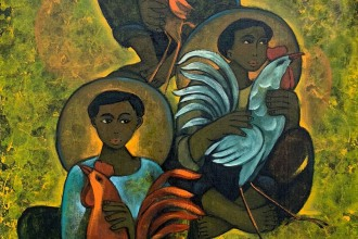 Lot-19-Roger-San-Miguel-Farmers-with-Cockerels-92-x-61-cm-Oil-on-canvas