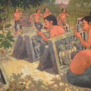 2-Stone Carvers, 2008 RM 4,950.00-SOLD | Oil on canvas | 67 x 116 cm