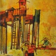 1-Stilt Houses, 1960's RM 11,550.00-SOLD | Batik | 89 x 70 cm