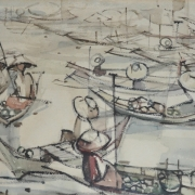 4-Floating Market, 1963 RM 7,260.00-SOLD | Watercolour on paper | 34 x 49 cm