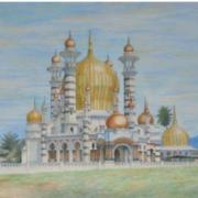 Ubudiah Mosque, Kuala Kangsar, 1993 RM 8,000.00 - RM 12,000.00 | Watercolor on paper | 54 x 75 cm