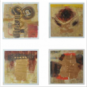 3-Abstract, 2006 RM 4,950.00-SOLD | Mixed media on canvas | 28 cm x 28 cm x 3 pieces