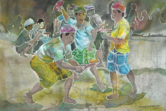 LOT 40 - ISMAIL MAT HUSIN-PLAYING-GASING-1977-48 x 71 cm