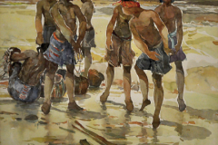 LOT 21 - KHALIL-IBRAHIM-EAST-COAST-FISHERMEN-1995-27x36cm