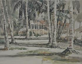 1-East Coast Village, 1974 Watercolour on Paper 27cm x 39.5cm