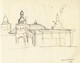 10-Masjid Kota Bharu,1970 Pen & Ink on Paper | 20.2cm x 24.5cm