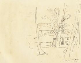 12-Kampung Scene, 1978 Pen & Ink on Paper | 20.2cm x 24.5cm
