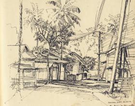 16-Kg. Besut Tumpat, 1980 1980 |Pen & Ink on Paper | 20.2cm x 24.5cm