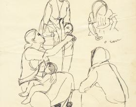 31-Study of mother and child, 1969 Pen & Ink on Paper | 20.2cm x 24.5cm