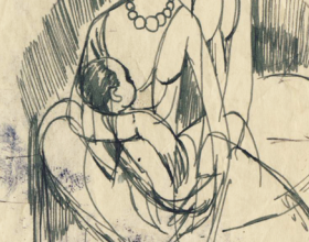 32-Study of Mother and Child, 1971 7.7 cm x 10.4cm | Pen & Ink on Paper