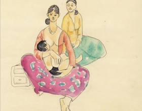33-Study of Mother and Child, 1971 20.2cm x 24.5cm Pen & Watercolour on Paper