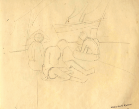 49-Fishermen,1971 Pen & Ink on Paper | 20.2cm x 24.5cm
