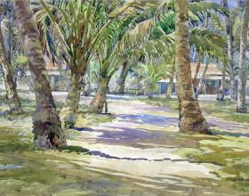 51-Pokok Kelapa di Tepi Pantai, 2008 71cm x 87cm. Watercolour on Paper