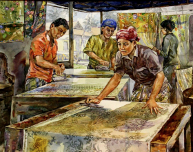52-Batik Printing, 2003 Watercolour on Paper 53.5cm x 73.5cm