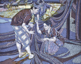 56-Knitting Fishing Nets, 2008 Batik 105cm x 105cm