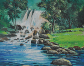 58-Imaginary Waterfall, 1974 Watercolour on Paper 17.5cm x 13cm