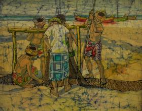 59-Knitting Net, 1974 Batik 52cm x 63cm