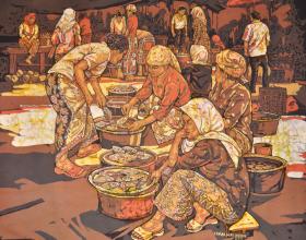 60-Market Scene, 2011 Batik 76cm x 92cm
