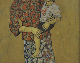 61-Mother and Child, 1985 Batik 61cm x 35cm