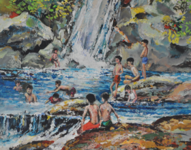 64-Picnic at the Waterfall, 1974 Watercolour on Paper 23.5cm x 20cm