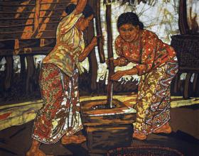 "69-Ismail Mat Hussin ""Pounding Rice"" (2010) Batik 65cm x 60.5cm GIFT"
