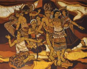 70-Ismail Mat Hussin Sarawakian Native (1983) Batik 94cm x 105cm SOLD