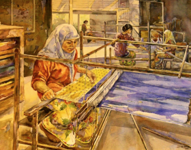 72-Silk Weaving, 2003 Watercolour on Paper 53.5cm x 73.5cm