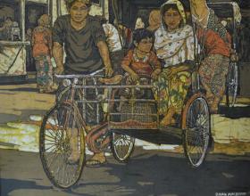"""74-Ismail Mat Hussin """"Two trishaws"""" (2008) Batik 76cm x 92cm"""