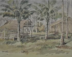 8-Wakaf, 1976 Watercolour on Paper 27.5cm x 39.5cm