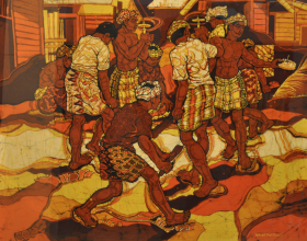 4-Playing Gasing, 1982 Batik 92cm x 105cm