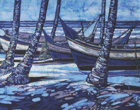 5-The Boats, 2010 Batik 75cm x 149cm
